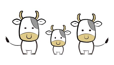 Brush Painting Illustration of a Parent and Child's Cow