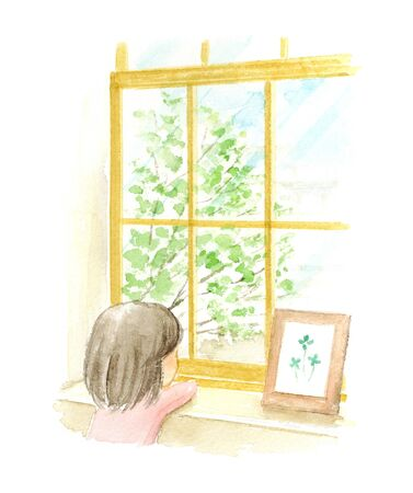 Watercolor illustration of a child looking out