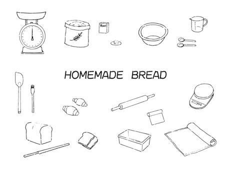 Bread making illustration icon set