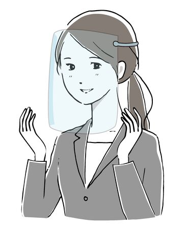 Illustration of a woman wearing a face shield and sign language.