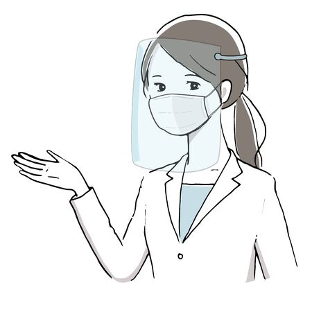 Illustration of a white coat woman wearing a face shield.  イラスト・ベクター素材