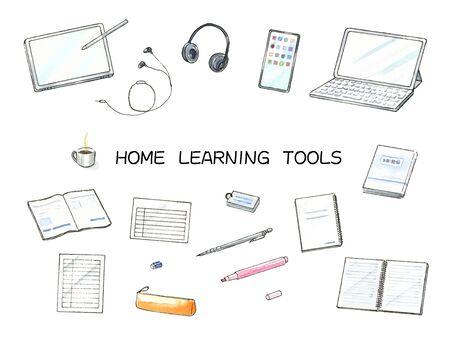 Watercolor illustration set for online learning  イラスト・ベクター素材