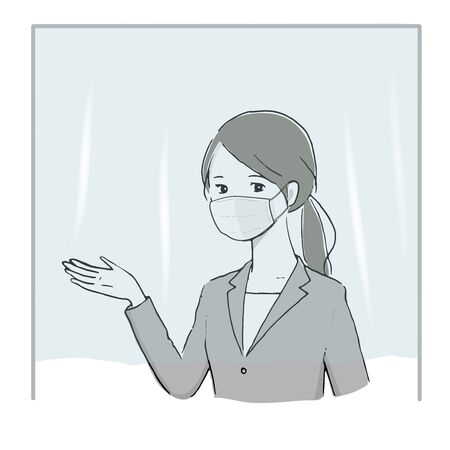 illustration Vector of a woman working through a vinyl curtain.