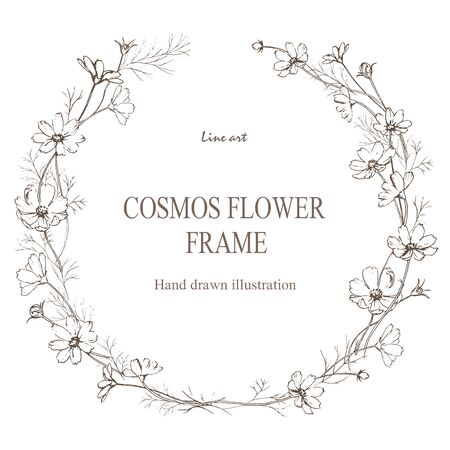 Pen drawing of cosmos flower circle frame.  イラスト・ベクター素材