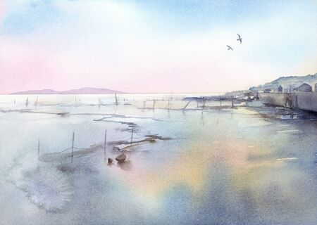 illustration watercolor of tidal flat landscape. 写真素材