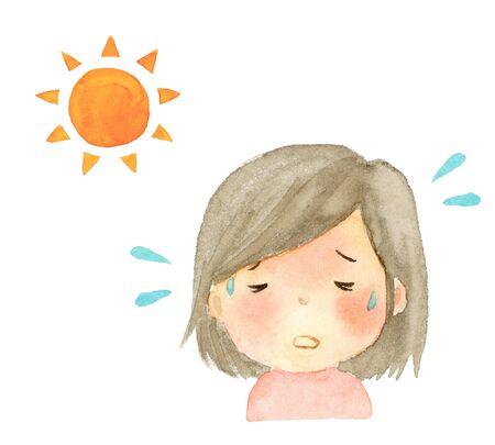 illustration watercolor of heatstroke girl 写真素材