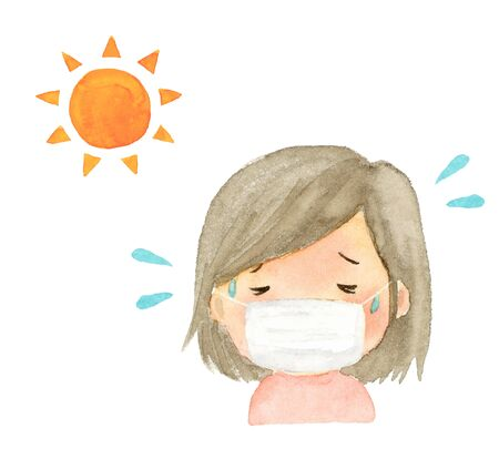 illustration watercolor of heatstroke girl with a mask.