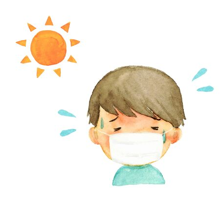 Illustration of a boy with a heat stroke wearing a mask