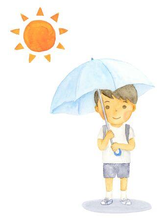 Watercolor illustration of a boy holding a parasol Illusztráció