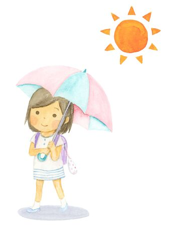 Watercolor illustration of a girl holding a parasol