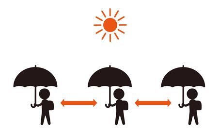 Symbol of kids going to school with parasols.  イラスト・ベクター素材