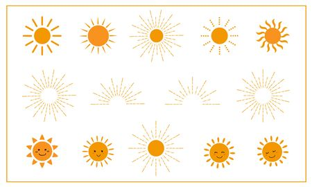 vector of sun icon set.