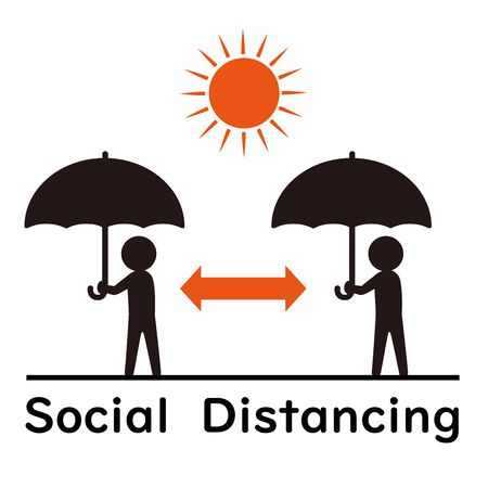Symbol of social distancing with parasols.