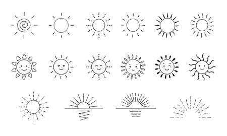 Sun icon set of handwritten line drawing
