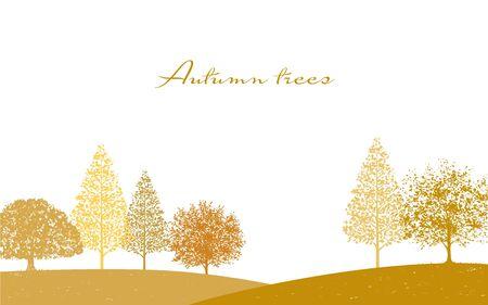 Autumn Trees Silhouette Background Vector Illustration