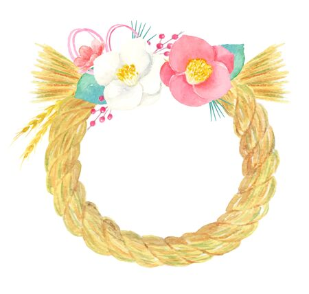 illustration Watercolor of New Year's Decoration wreath.