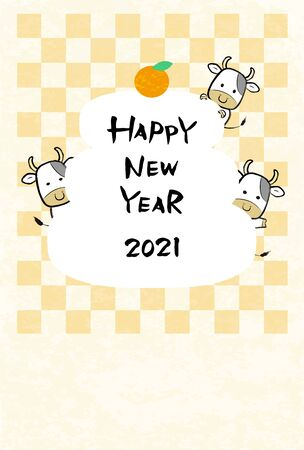 2021 Cute Cow New Year's Card Template  イラスト・ベクター素材