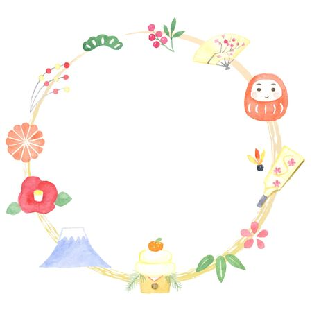 New Year's accessories decoration frame watercolor illustration  イラスト・ベクター素材