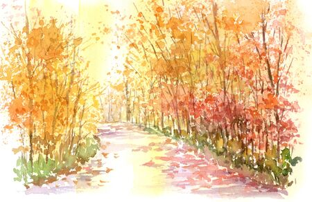 Watercolor paintings on the autumn promenade 写真素材