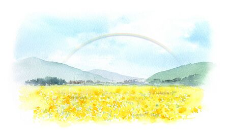 Landscape with a rainbow in the sky Watercolor painting