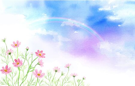 Landscape of rainbow and cosmos Watercolor illustration 写真素材