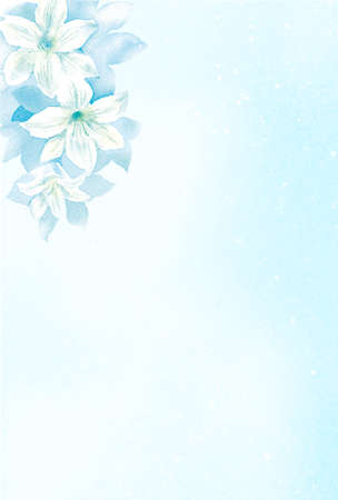 Postcard template of white lily.