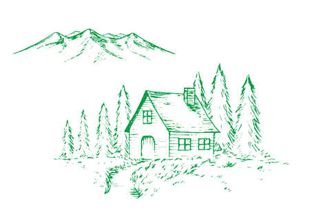 Pen sketch illustration of mountain,forest and cabin.