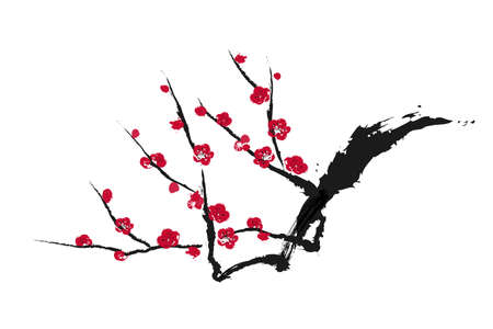 Ink painting vector illustration of plum tree.