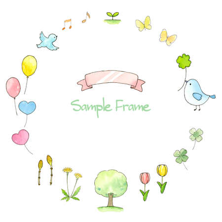 Spring Frame Watercolor Illustration Ilustração