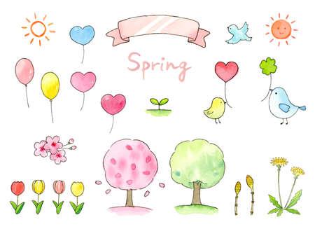 Spring Watercolor Illustration Set