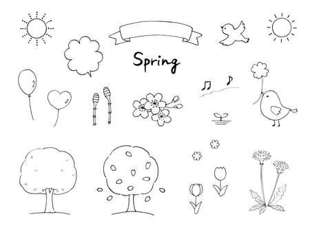 Spring Pen Illustration Set