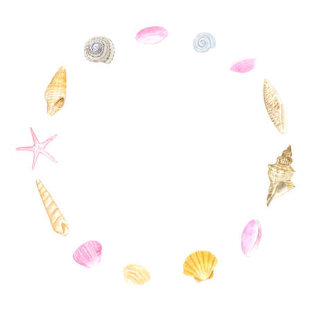 Watercolor illustration of shell circle frame