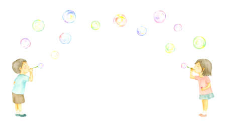 Watercolor illustration of kids playing soap bubbles.