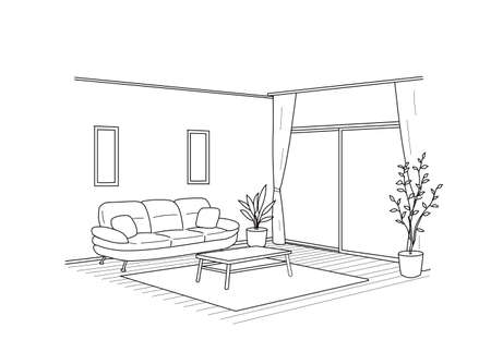 Living Line Perspective  Vector Illustration