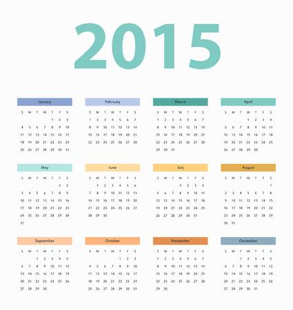 Simple european 2015 year vector calendar, template Vector