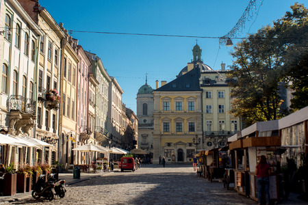 Lviv - the historic center of Ukraine, a city with ancient architecture. Imagens
