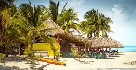 cozumel: Tropical bar on a beach on Cozumel island, Mexico