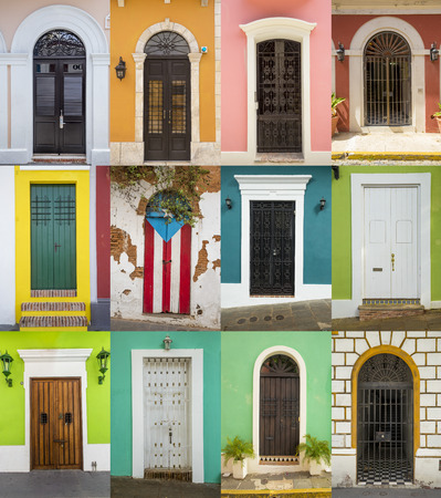 Doors of houses in San Juan, Puerto Rico