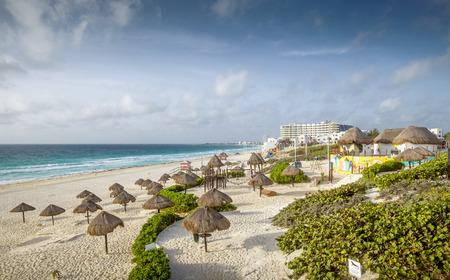 cancun: Sandy beach in Cancun, Mexico