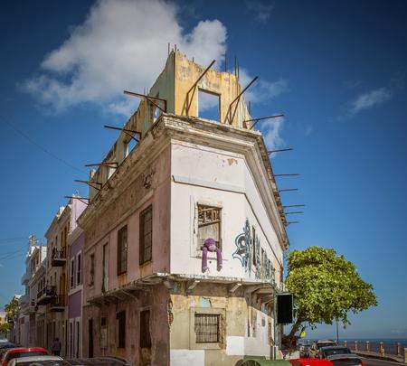 Ruined building in old San Juan, Puerto Rico Editorial