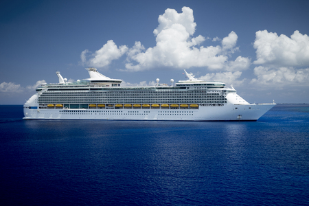 huge: Huge cruise ship on a full sea Stock Photo