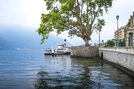 moored: Moored steam ship on Como Lake, Italy Stock Photo