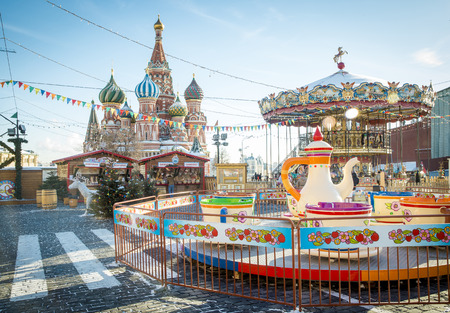red square: Christmas village fair on Red Square in Moscow, Russia
