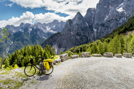 mountain pass: Bicycle tourism in Slovenia - on the road to Vrsic mountain pass