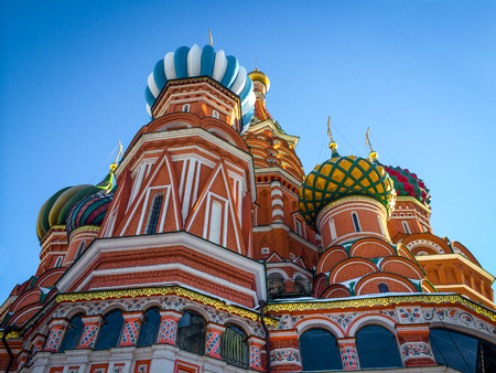 red square: Saint Basils Cathedral on Red Square in Moscow, Russia Stock Photo