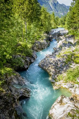 River bed of Soca river in Triglav National Park, Slovenia Stock Photo