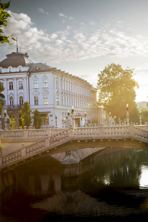 triple: Triple bridge in the old town of Ljubljana, Slovenia Editorial