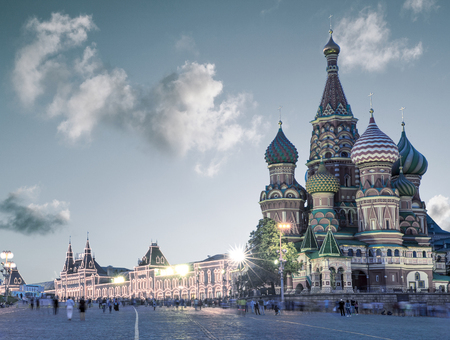 in copula: Saint Basil Cathedral on Red Square in Moscow, Russia Editorial