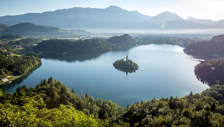 bird view: Bird view on Bled lake, its island with church Stock Photo