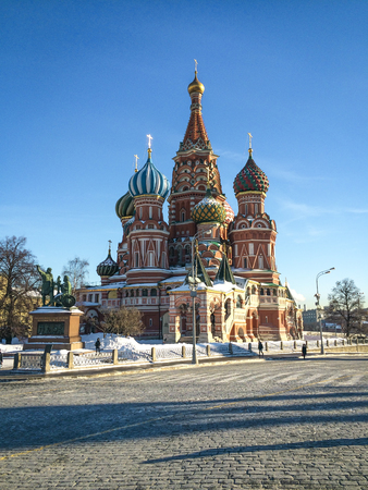 in copula: Saint Basils Cathedral on Red Square in Moscow, Russia Stock Photo